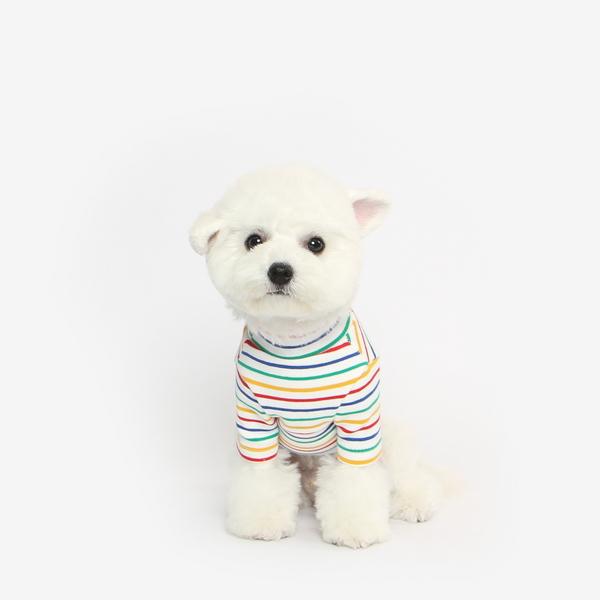 강아지 무지개 목폴라 티셔츠