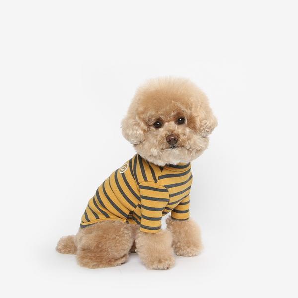강아지 목폴라 티셔츠 (옐로우)