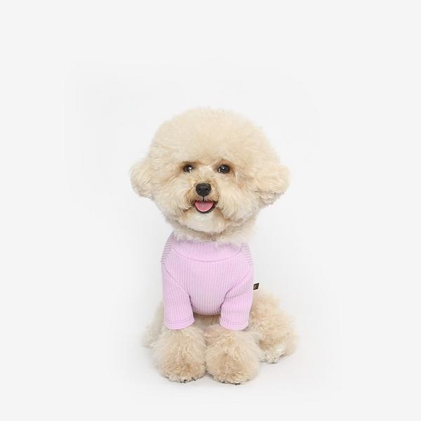 강아지 골지 목폴라 티셔츠 (보라)