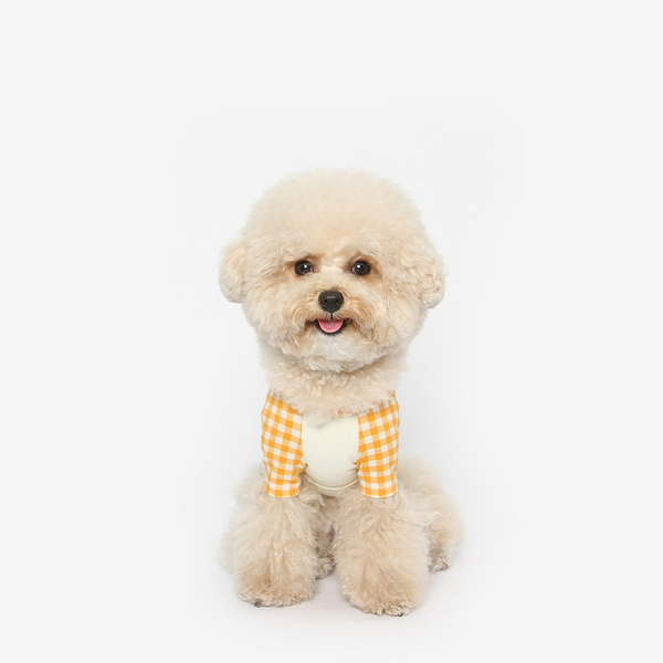강아지 체크 나그랑 티셔츠 (오렌지)