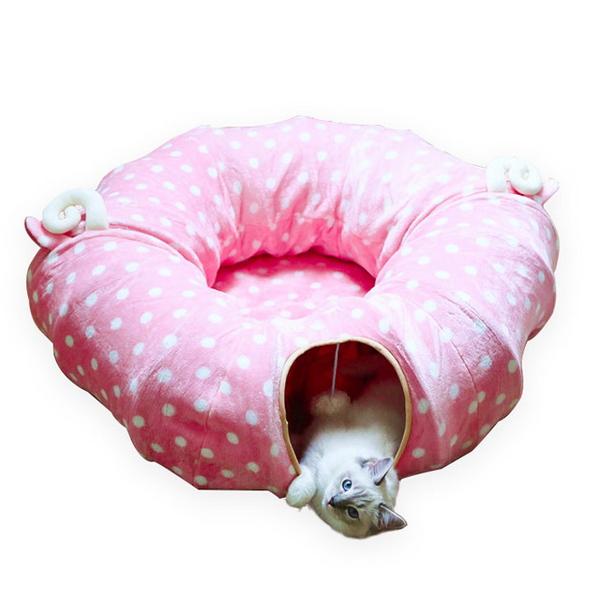 고양이 숨숨 집 터널 하우스 집 방석 침대