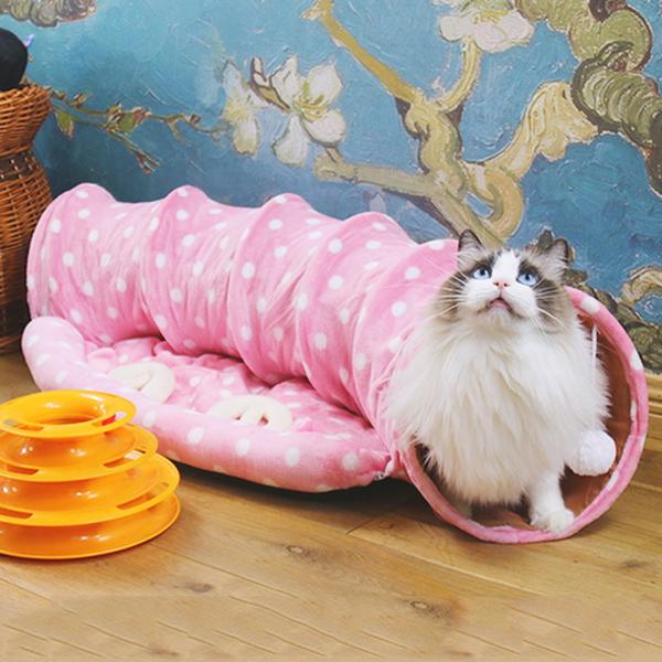고양이 터널 숨숨 집 캣터널 하우스 방석 침대