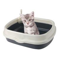 블루파우 가든 고양이 평판형 오픈 화장실 대형 그레이