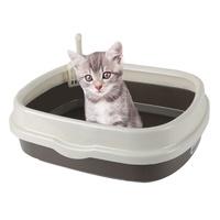 블루파우 가든 고양이 평판형 오픈 화장실 대형 브라운