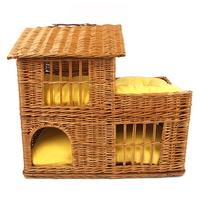 강아지 고양이 2층 라탄 하우스