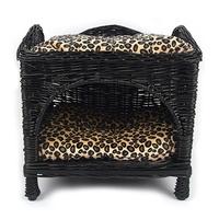 강아지 고양이 블랙 라탄 2층 바구니 하우스