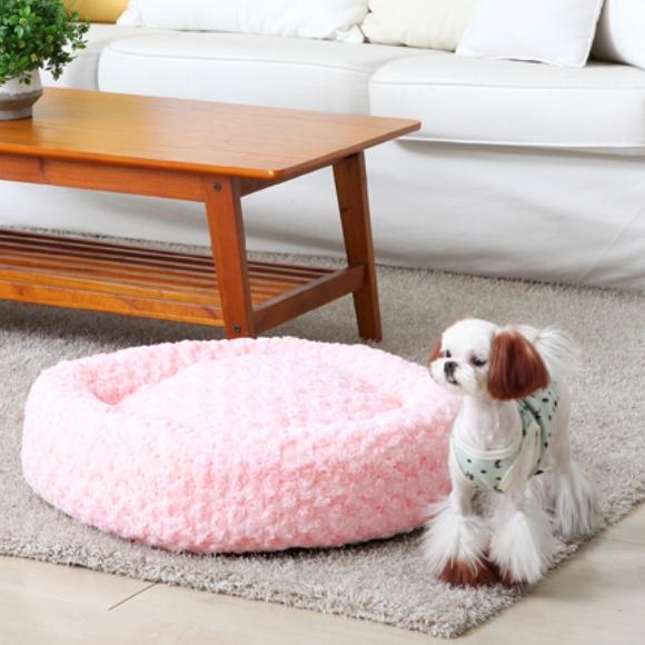 반려동물 베이글 원형방석 핑크