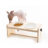 각도 높낮이 조절 원목 강아지 2구 식탁 식기