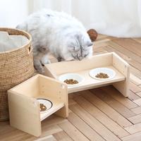 데어바이 반려동물 높이조절 나무 식탁 식기 2구
