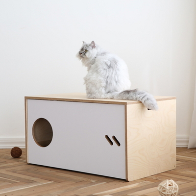 슬라이드 고양이 원목화장실