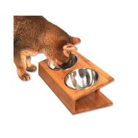 수퍼펫 강아지 고양이 대나무 원목 경사식탁 식기 S