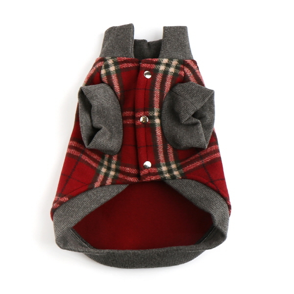 (국내산) 강아지옷 - 100프로 울 코트 (레드체크)