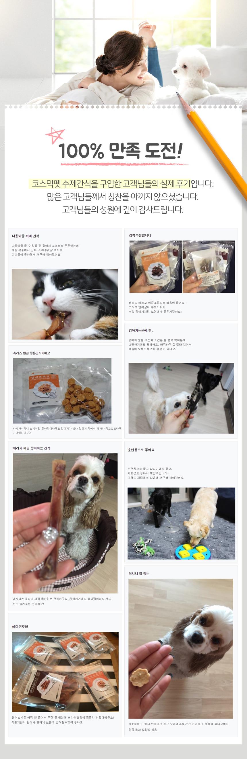 코스믹펫 강아지 수제간식 연어츄러스컷팅 100g  (3+1) - 코스믹펫, 6,900원, 간식/영양제, 수제간식