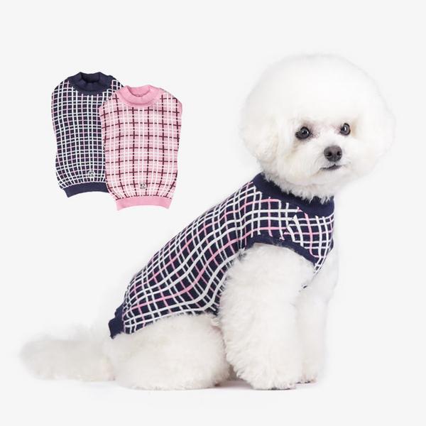 99%세균감소 항균 강아지옷 체크니트