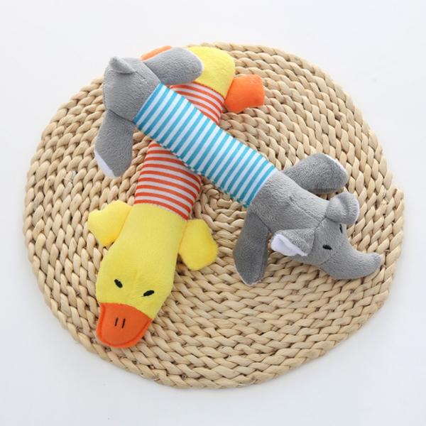 강아지 장난감 봉제인형 3종세트(오리 돼지 코끼리)