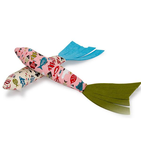 고양이 물고기 모양 캣닢향 쿠션 인형