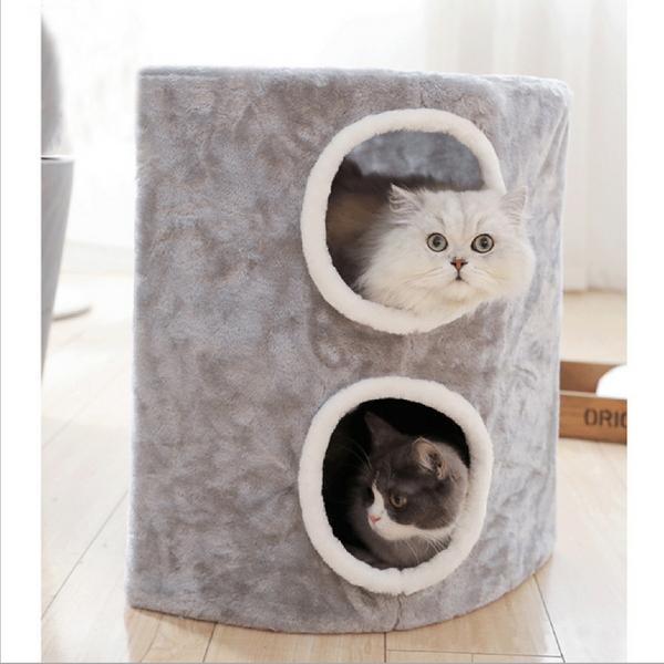 고양이 2층 캣타워 숨숨 하우스 집 그레이
