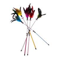 우쭈쭈 깃털 스프링 낚시대 장난감 (색상랜덤)