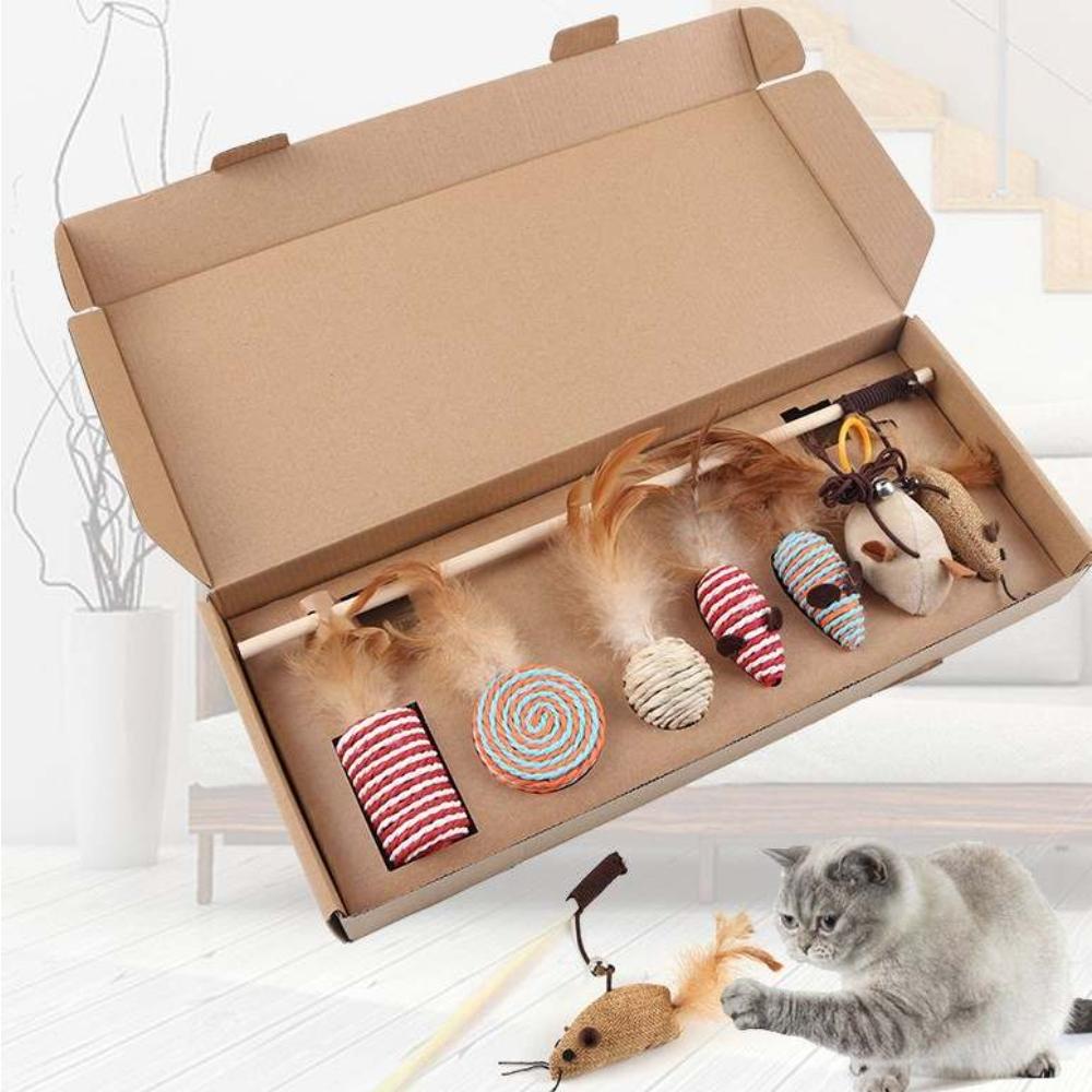 발라당 고양이 깃털 낚시대 이갈이 장난감 7종세트