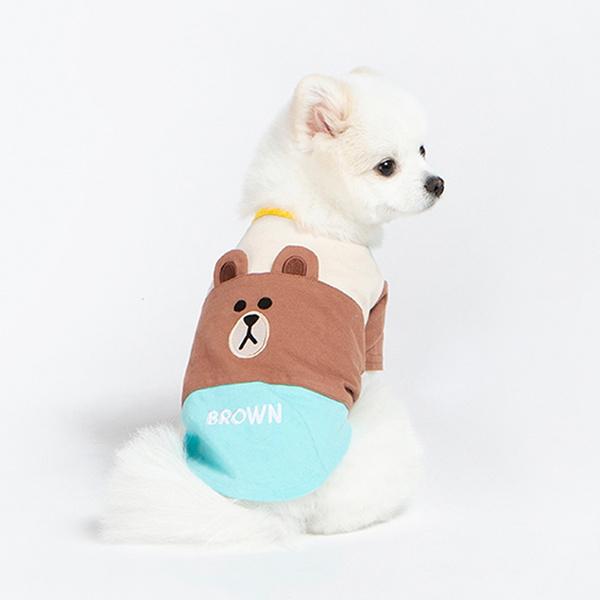 라인프렌즈 - 브라운 삼단 배색 반팔티셔츠