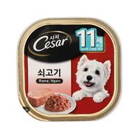 (유통기한21.08.26)시저 강아지 캔 11세이상 쇠고기 100g