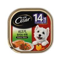 (유통기한21.12.09)시저 강아지 캔 14세이상 쇠고기 100g