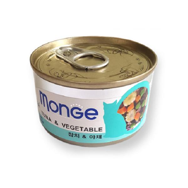 (유통기한2020.04.09)바우와우 고양이캔 몽지 참치 야채 95g
