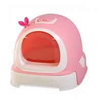 마칼 고양이 후드형 버블캣 화장실 핑크