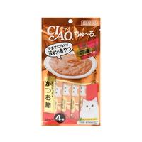 (유통기한21.01.30)이나바 고양이 챠오츄르 가다랑어 가다랑어포 14g 4개입