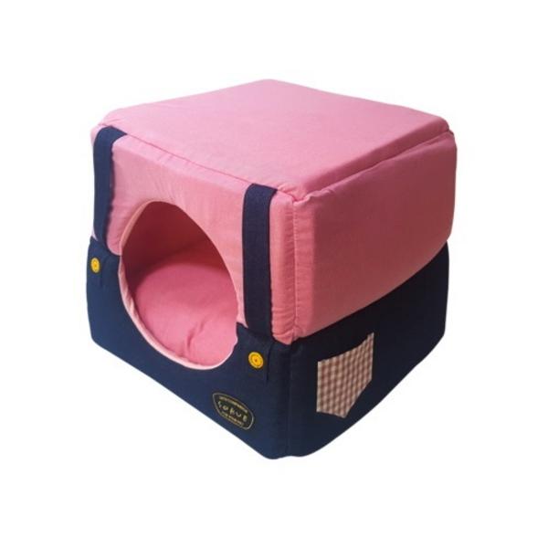 쏘아베 멜빵 큐브 방석 핑크 L