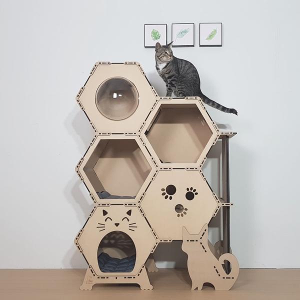 펫팀장 캣호텔 고양이캣타워 5단 스위트룸 돔형