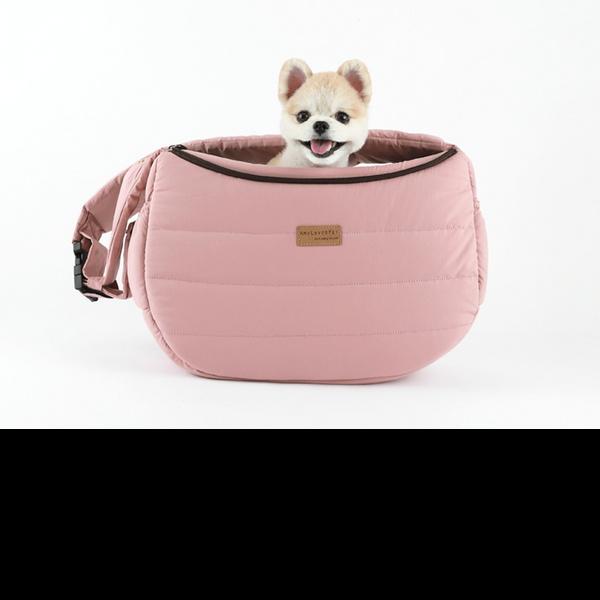 강아지슬링백 강아지가방 강아지포대기 하프슬링폼 L핑크