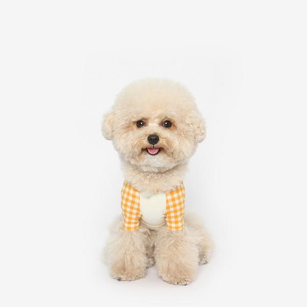 강아지 체크 나그랑 티셔츠 오렌지