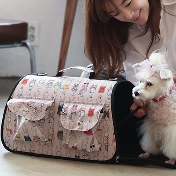 애견 패션 이동장 캐리어 큐티 토끼 이동가방
