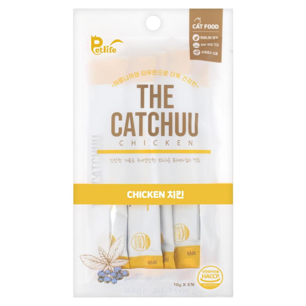 (유통기한21.07.21)펫라이프 고양이 간식 파우치 더캣츄 치킨 10g 5개입