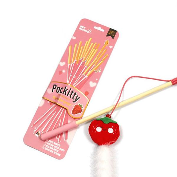 펫모닝 포키티 캣닢 빼로로 낚시대 딸기