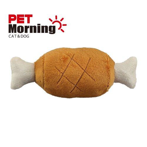 펫모닝 강아지 봉제 삑삑이 장난감 바베큐 갈비 닭다리 세트