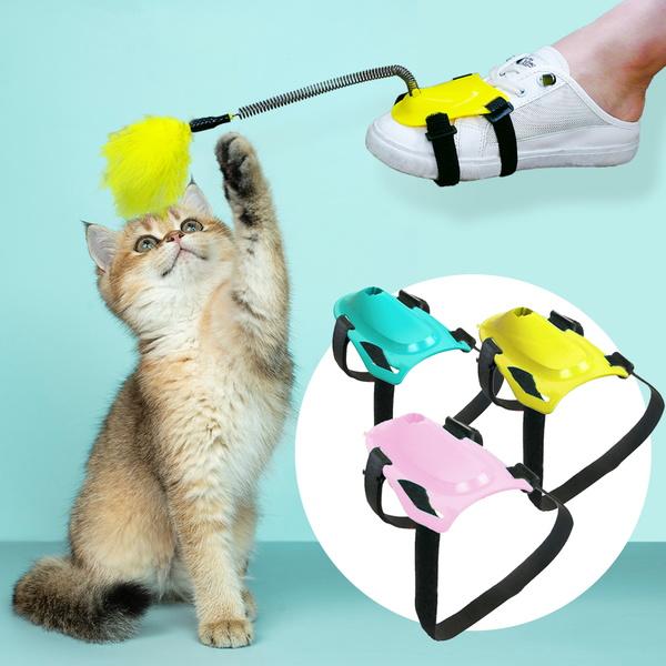 핸즈프리 스프링 토이 고양이 깃털 낚싯대 장난감