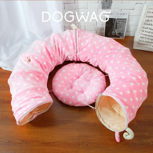 도그웨그 땡땡이 고양이 캣터널 숨숨집 장난감 하우스