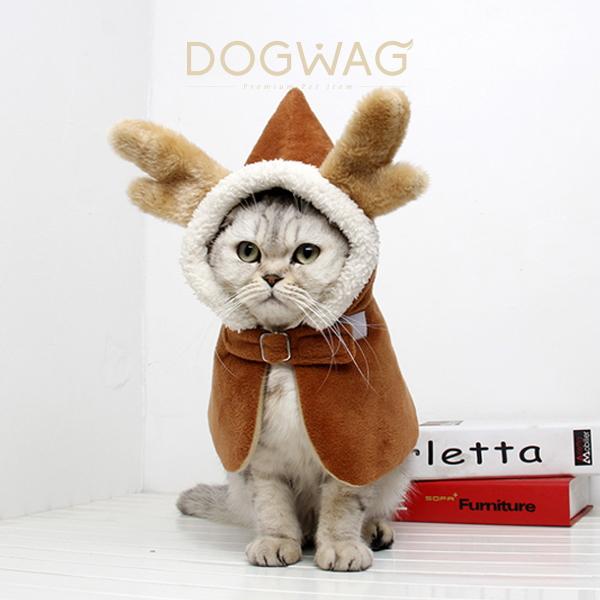 루돌프 망토 크리스마스 강아지 고양이 아우터 케이프