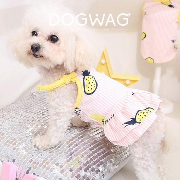 도그웨그 파인애플 프릴 원피스 강아지 여름 옷
