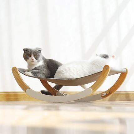 아이핏코리아 고양이 비치우드 해먹 흔들의자 그레이