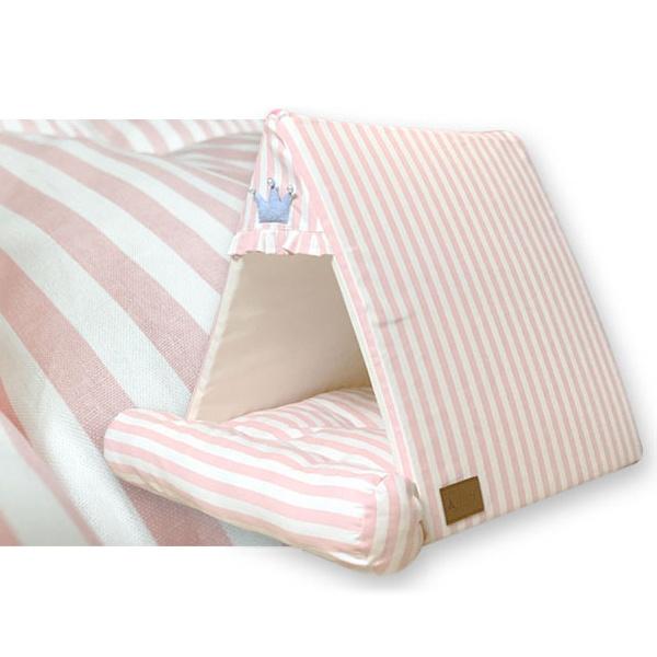스트라이프 삼각 하우스 핑크