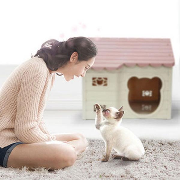 푸르미 강아지 고양이 리빙 하우스 인디핑크