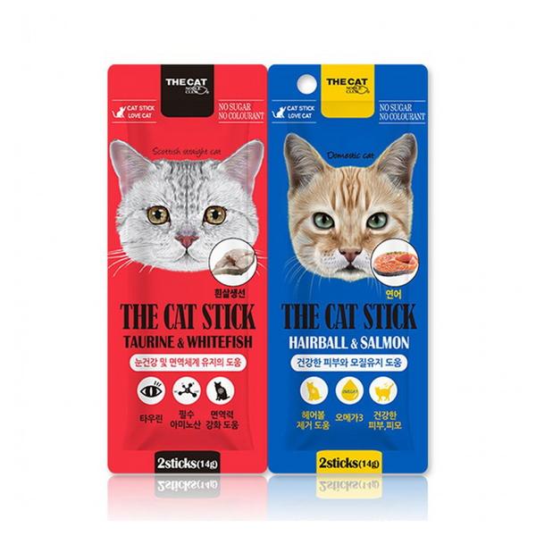 더캣 고양이 간식 더캣스틱 면역기능 피모케어 2종