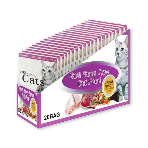 더캣츠 고양이 간식 가다랑어 치킨 스프 50g 20개