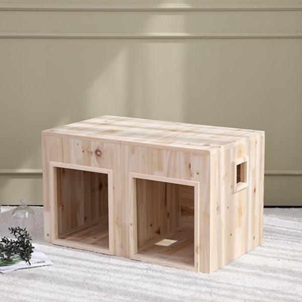 이너피스 원목 강아지집 쌍둥이하우스