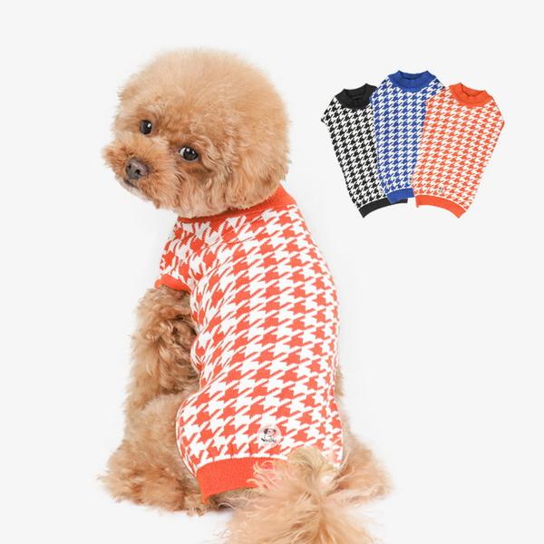 하운드 체크니트 강아지옷