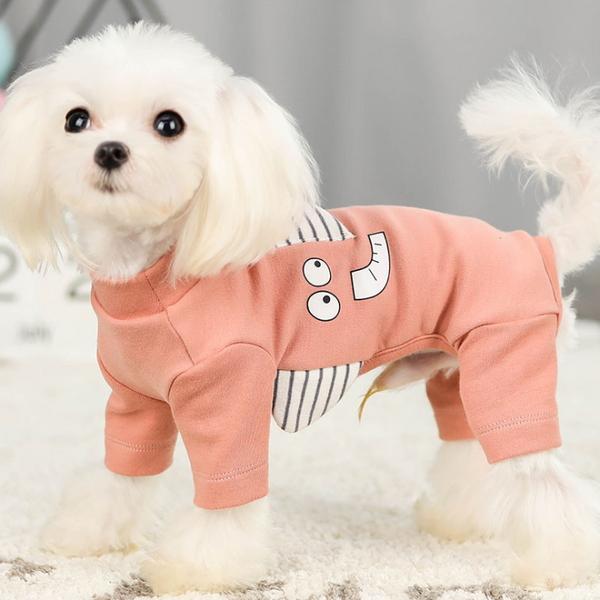 애견 입체 캐릭터 라운드 티셔츠 올인원 코끼리 핑크