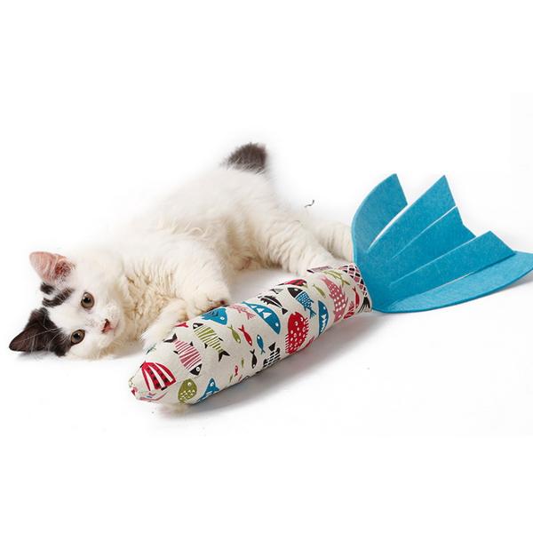고양이 캣닢 물고기 쿠션 인형
